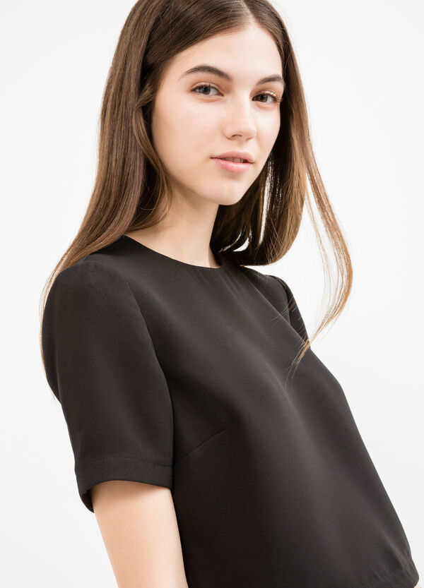 Stretch crop T-shirt with zip | OVS