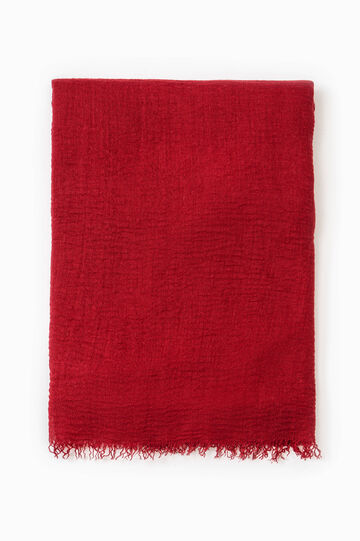 Solid colour viscose blend scarf, Cherry Red, hi-res