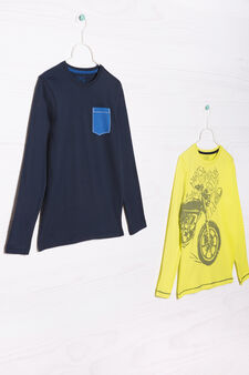 Set due t-shirt cotone stampate, Blu/Giallo, hi-res