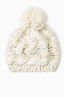 Knit beanie cap with pompom, Natural, hi-res