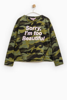 Camouflage pattern sweatshirt with zip, Army Green, hi-res