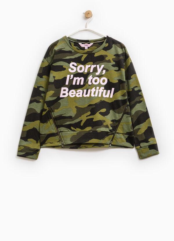 Camouflage pattern sweatshirt with zip | OVS
