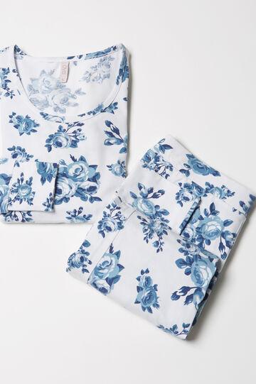 Stretch floral pyjamas, White/Blue, hi-res