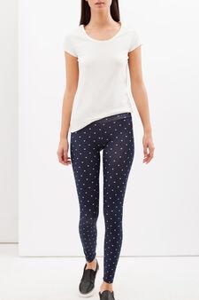 Printed stretch leggings, Dark Blue, hi-res