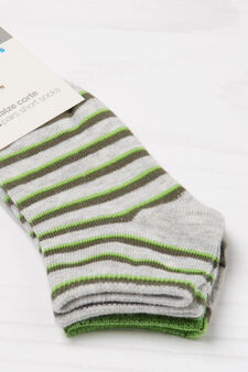 Two-pair pack stretch socks with pattern, Grey Marl, hi-res