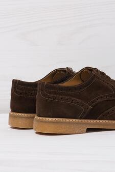 Suede shoes with openwork design, Dark Brown, hi-res