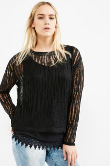 Curvy stretch pullover with inside top, Black, hi-res