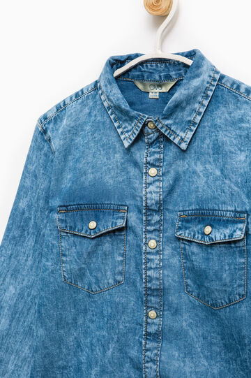 Denim shirt with faded effect, Soft Blue, hi-res