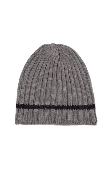 Knitted ribbed beanie cap, Grey Marl, hi-res