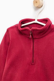 Fleece hoodie with zip, Red, hi-res