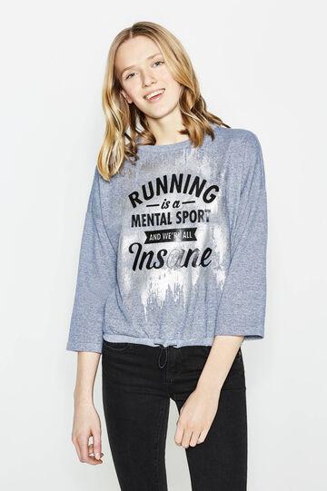 Mélange sweatshirt with lettering print, Blue Marl, hi-res