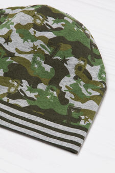 Striped camouflage beanie cap, Green, hi-res