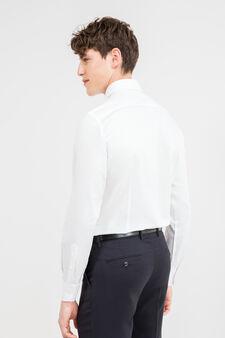 Solid colour slim-fit cotton formal shirt, White, hi-res