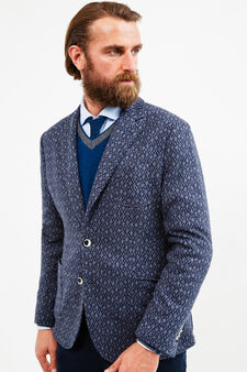 Rumford solid colour wool blend jacket., Blue, hi-res