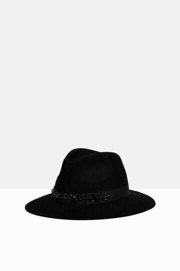 Wool hat with diamanté band, Black, hi-res