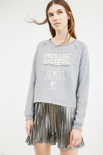 100% cotton sweatshirt with fringes, Grey Marl, hi-res