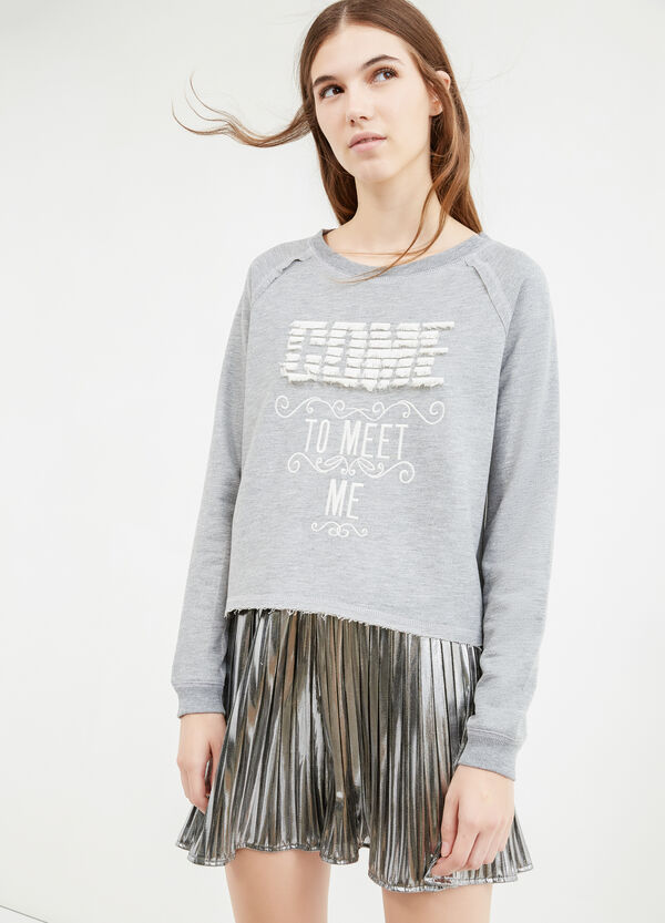 100% cotton sweatshirt with fringes | OVS