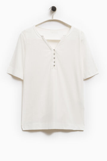 Smart Basic  T-shirt with beaded buttons, White, hi-res