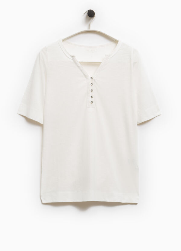 Smart Basic  T-shirt with beaded buttons | OVS