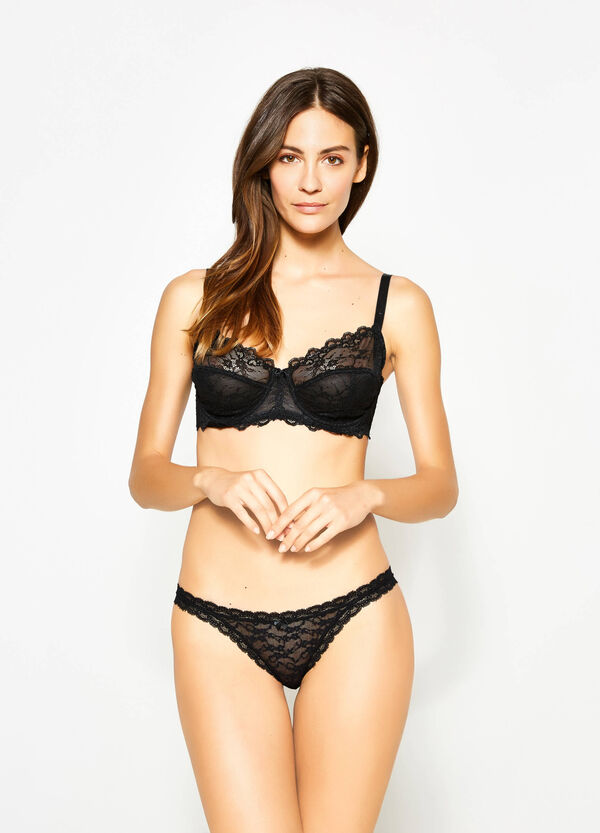 Lace tanga with bow | OVS