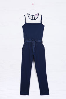 Stretch cotton dress, White/Blue, hi-res