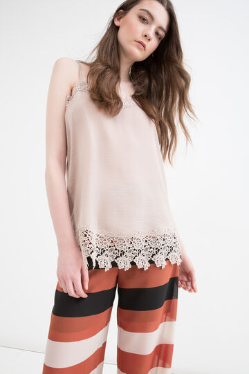 Blouse with floral inserts, Beige, hi-res