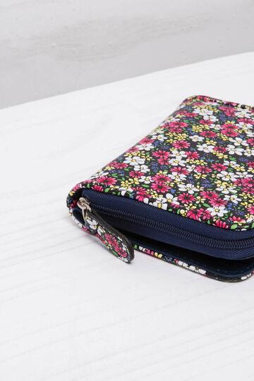 Portafogli floreale con zip e bottone, Nero, hi-res