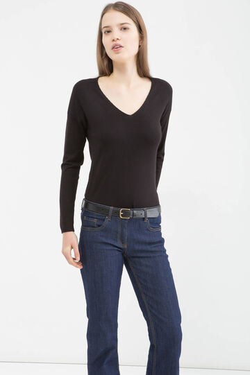 Viscose blend pullover with V neck, Black, hi-res