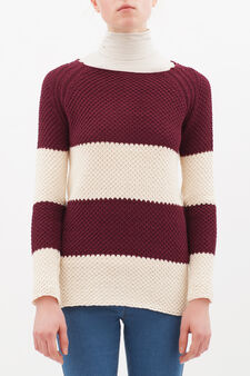 Chunky cotton blend pullover., Wine Purple, hi-res