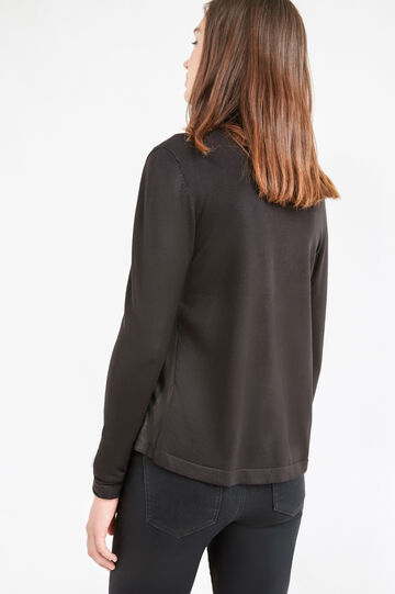 Suede look cardigan with shawl neck, Black, hi-res