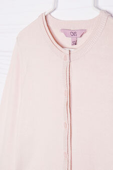 Cotton blend knit shrug, Pink, hi-res