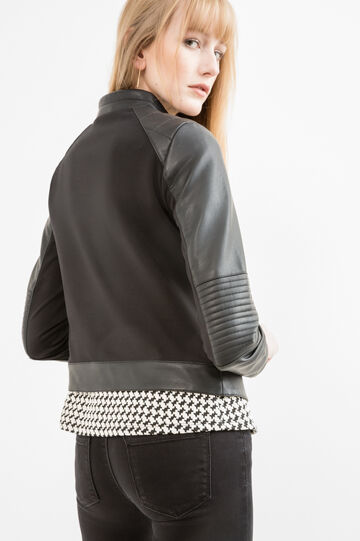 Quilted leather look jacket, Black, hi-res