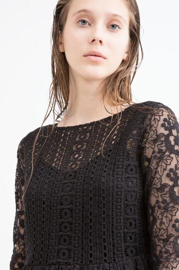 Solid colour lace dress, Black, hi-res