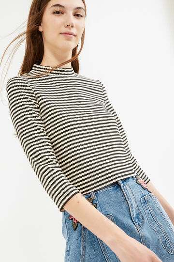 Striped T-shirt in stretch cotton and viscose, White/Black, hi-res