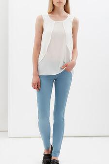 Sleeveless frilled blouse, White, hi-res