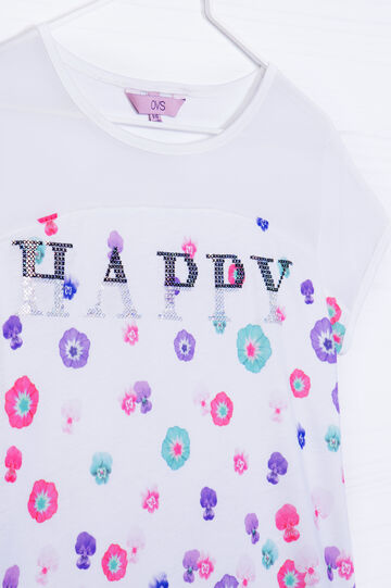 T-shirt misto viscosa con strass, Bianco, hi-res