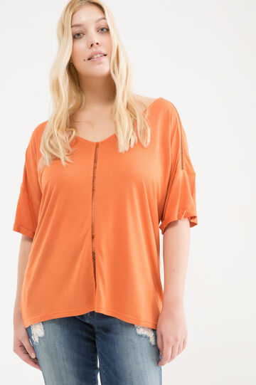 Curvy 100% viscose T-shirt, Dark Orange, hi-res