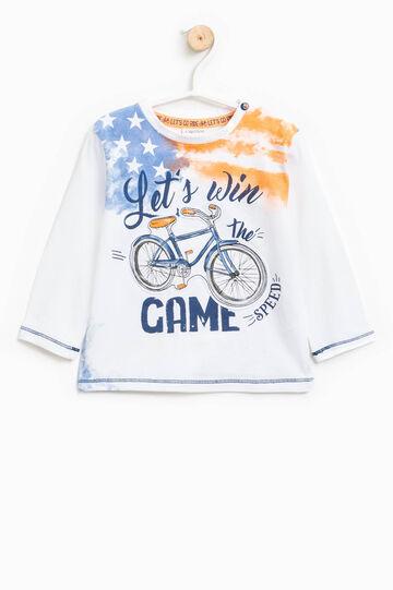 T-shirt with maxi print, Cream White, hi-res