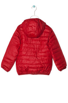 Down jacket with hood, Red/Orange, hi-res