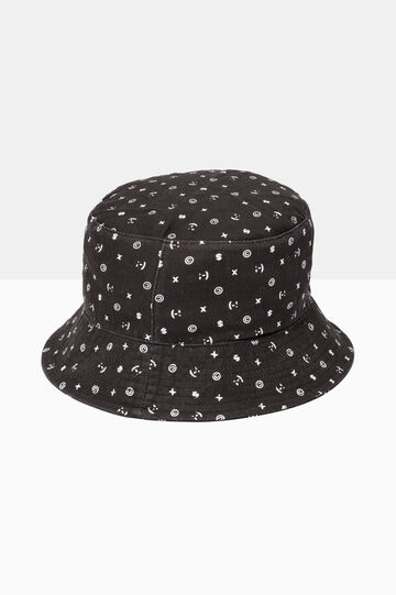 Patterned fishing hat, Black, hi-res