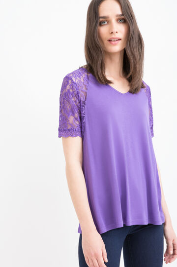 Solid colour 100% viscose T-shirt., Purple, hi-res