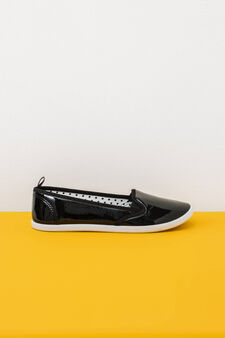 Slip-ons with shiny upper, Black, hi-res