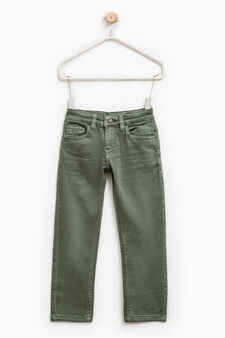 Solid colour slim-fit jeans, Moss Green, hi-res