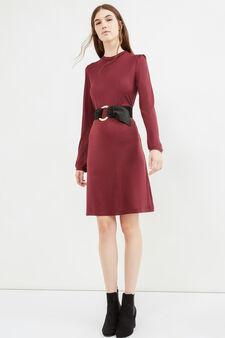 Long-sleeved 100% viscose dress, Claret Red, hi-res
