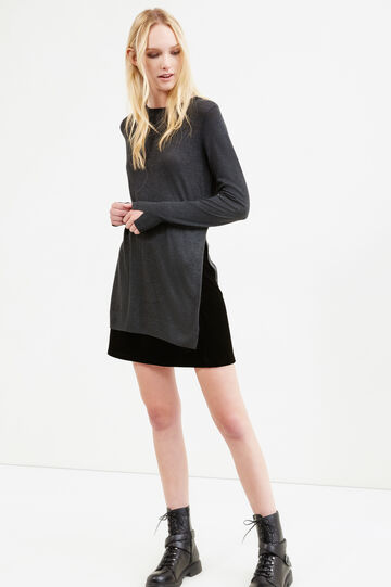 Long pullover with slits, Dark Grey, hi-res