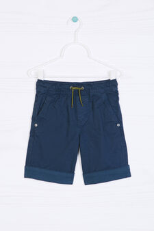Cotton shorts with contrasting band., Navy Blue, hi-res