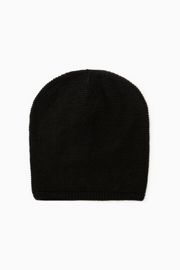 Knitted beanie cap, Black, hi-res