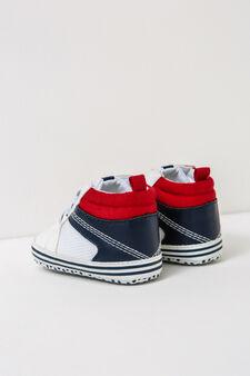 Sneakers con lacci e suola a pois, Bianco/Blu, hi-res