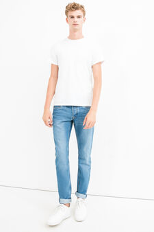 Faded, worn-effect slim-fit stretch jeans, Light Wash, hi-res