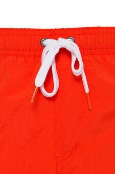 Solid colour swim boxer shorts, Red, hi-res